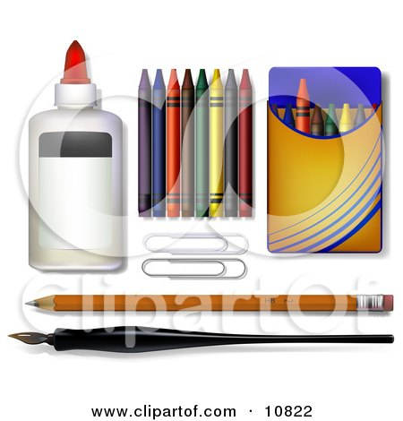 Glue, Crayons, Paper Clipars, Pencil and Calligraphy Pen Clipart Illustration by Leo Blanchette