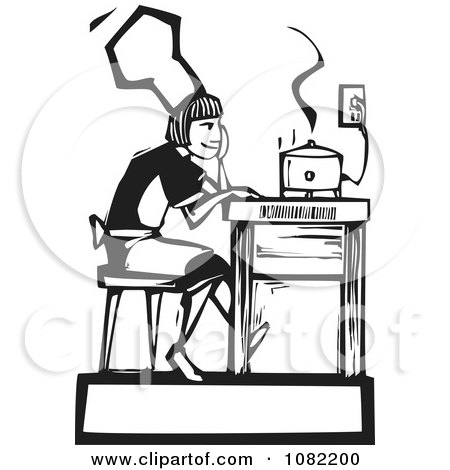 Clipart Black And White Woodcut Styled Girl Waiting By A Slow Cooker - Royalty Free Vector Illustration by xunantunich
