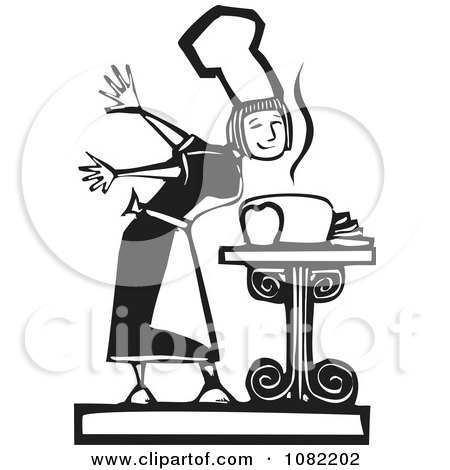 Clipart Black And White Woodcut Styled Girl Smelling Fresh Bread - Royalty Free Vector Illustration by xunantunich