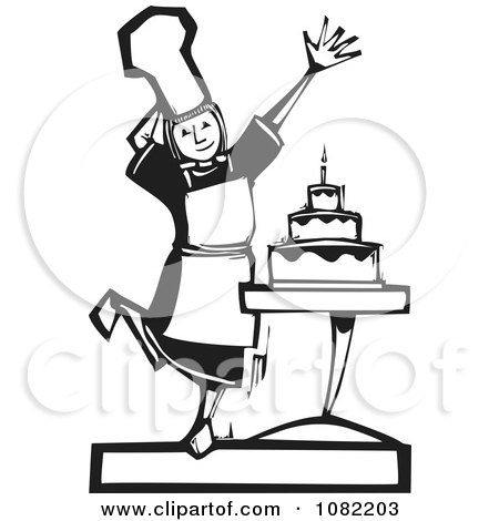 Clipart Black And White Woodcut Styled Girl Presenting A Cake - Royalty Free Vector Illustration by xunantunich