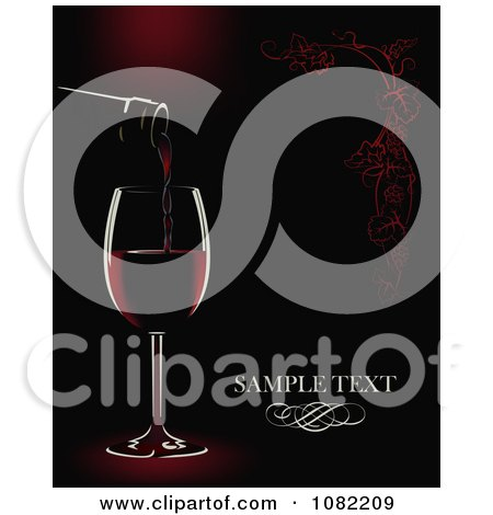 Clipart Bottle Pouring Red Wine Into A Glass Over Black And Red With Sample Text - Royalty Free Vector Illustration by Eugene