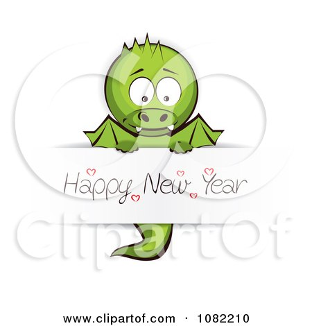Clipart Dragon Holding A Happy New Year Sign - Royalty Free Vector Illustration by Eugene