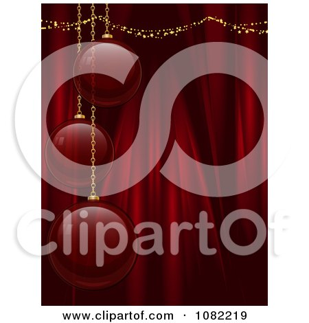Clipart 3d Red Glass Christmas Bulbs Over Silk Drapes - Royalty Free Vector Illustration by elaineitalia