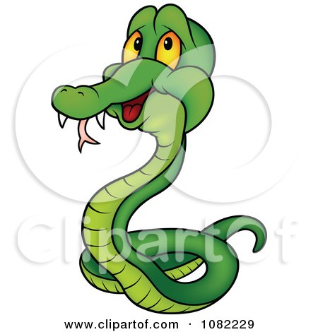 Clipart Green Snake With Fangs - Royalty Free Vector Illustration by dero