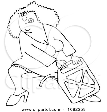 Clipart Outlined Woman Lugging A Heavy Gas Can - Royalty Free Vector Illustration by djart