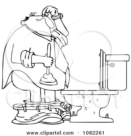 Clipart Outlined Woman With A Plunger Over A Clogged