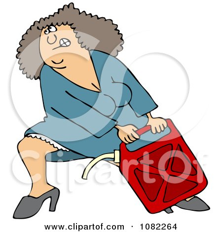 Clipart Woman Lugging A Heavy Gas Can - Royalty Free Vector Illustration by djart