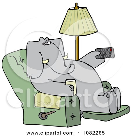 Clipart Elephant Holding A Tv Remote And Drink In A Recliner - Royalty Free Vector Illustration by djart