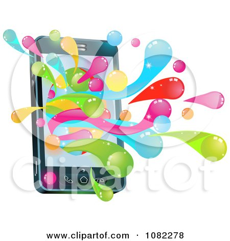 Clipart 3d Cell Phone With Colorful Splashes - Royalty Free Vector Illustration by AtStockIllustration