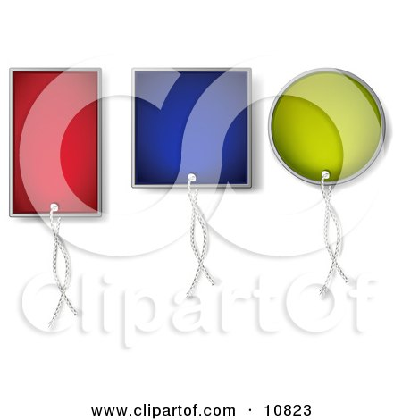 Three Colorful Blank Sales Price Tags With String Posters, Art Prints
