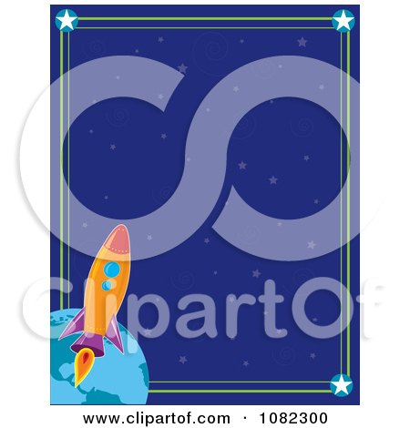 Clipart Blue Starry Background With A Space Shuttle And Earth Border - Royalty Free Vector Illustration by Maria Bell