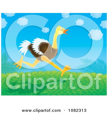 Clipart Ostrich Running On A Grassy Hill - Royalty Free Illustration by Alex Bannykh