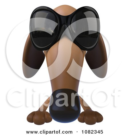 Clipart 3d Pookie Wiener Dog Wearing Shades And Holding A Sign 1 - Royalty Free CGI Illustration by Julos
