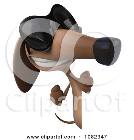Clipart 3d Pookie Wiener Dog Wearing Shades And Holding A Sign 3 - Royalty Free CGI Illustration by Julos