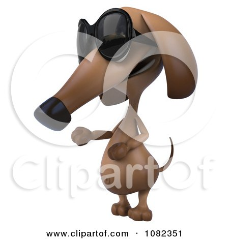 Clipart 3d Pookie Wiener Dog Wearing Shades And Presenting - Royalty Free CGI Illustration by Julos