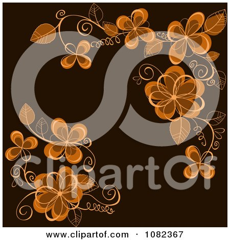 Passion Flower Vine on Brown Flower Clipart