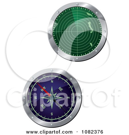 Clipart Green And Blue 3d Radar Screens - Royalty Free Vector Illustration by Vector Tradition SM