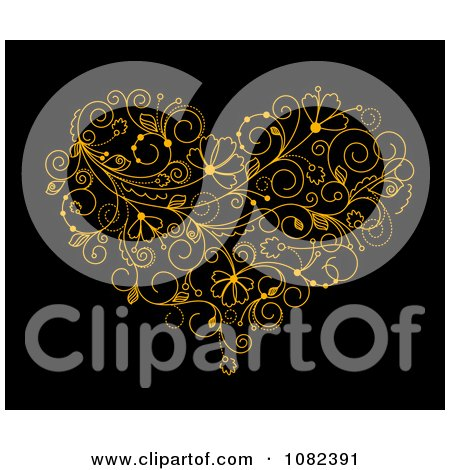 Clipart Golden Floral Vine Heart On Black - Royalty Free Vector Illustration by Vector Tradition SM
