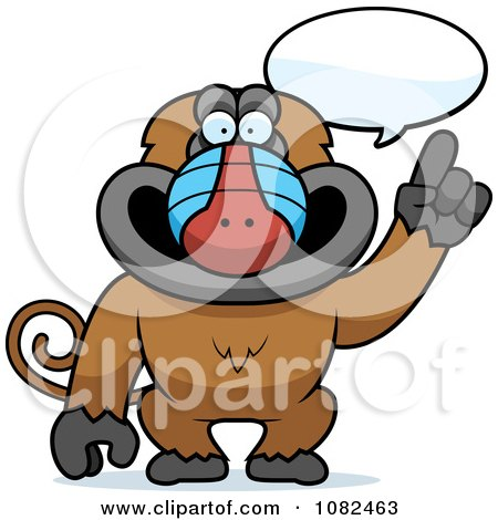 Clipart Smart Baboon Talking - Royalty Free Vector Illustration by Cory Thoman