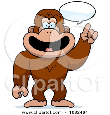 Clipart Smart Bigfoot Talking - Royalty Free Vector Illustration by Cory Thoman