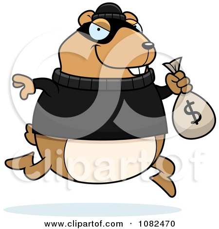 Clipart Hamster Robbing A Bank - Royalty Free Vector Illustration by Cory Thoman