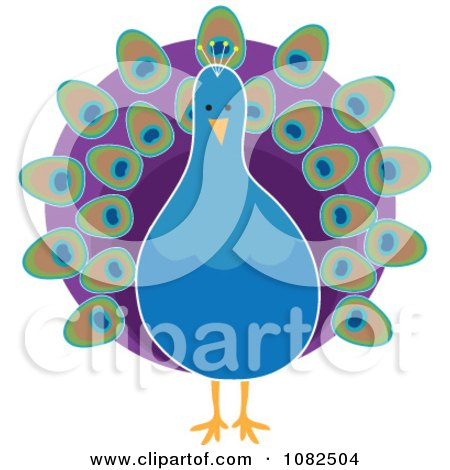 Clipart Pretty Blue Peacock With Purple Plumage - Royalty Free Illustration by Maria Bell