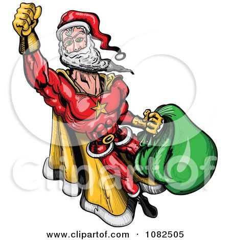 Clipart Super Santa Flying - Royalty Free Vector Illustration by Zooco