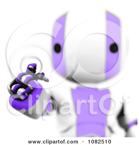 Clipart 3d Purple Ao-Maru Robot Using An Interface - Royalty Free CGI Illustration by Leo Blanchette