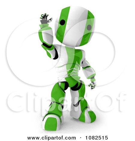 Clipart 3d Green Ao-Maru Robot Waving - Royalty Free CGI Illustration by Leo Blanchette