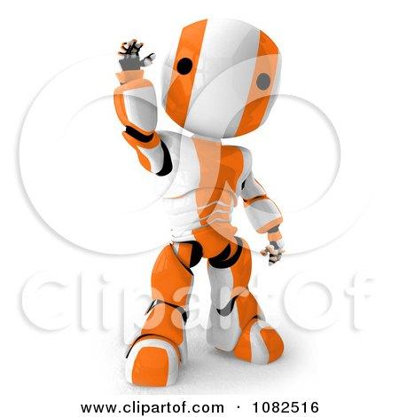Clipart 3d Orange Ao-Maru Robot Waving - Royalty Free CGI Illustration by Leo Blanchette