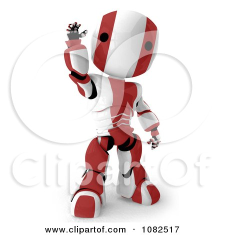 Clipart 3d Red Ao-Maru Robot Waving - Royalty Free CGI Illustration by Leo Blanchette