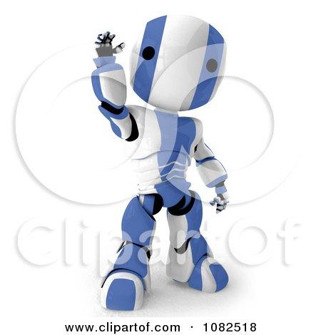 Clipart 3d Blue Ao-Maru Robot Waving - Royalty Free CGI Illustration by Leo Blanchette