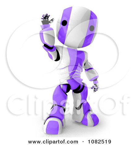Clipart 3d Purple Ao-Maru Robot Waving - Royalty Free CGI Illustration by Leo Blanchette