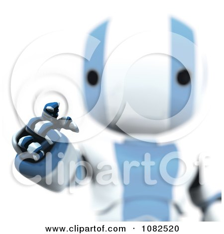Clipart 3d Blue Ao-Maru Robot Using An Interface - Royalty Free CGI Illustration by Leo Blanchette