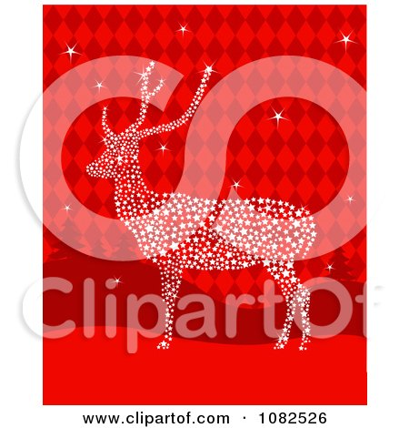 Clipart Starry Christmas Reindeer Over Red Checkers - Royalty Free Vector Illustration by Pushkin