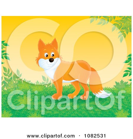Clipart Handsome Fox In A Lush Landscape - Royalty Free Illustration by Alex Bannykh
