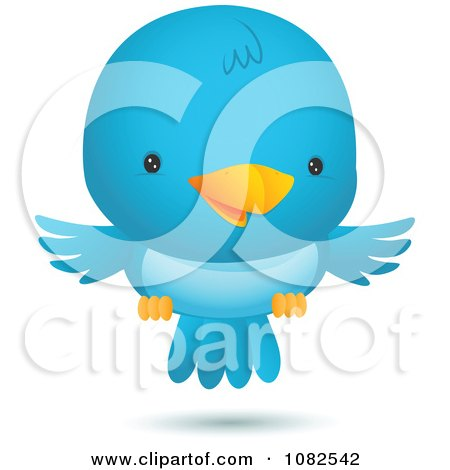 Clipart Happy Blue Bird Flying - Royalty Free Vector Illustration by Qiun