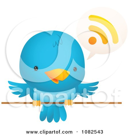 Clipart Blue Bird Talking - Royalty Free Vector Illustration by Qiun