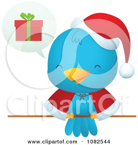 Clipart Christmas Blue Bird Talking About Gifts - Royalty Free Vector Illustration by Qiun