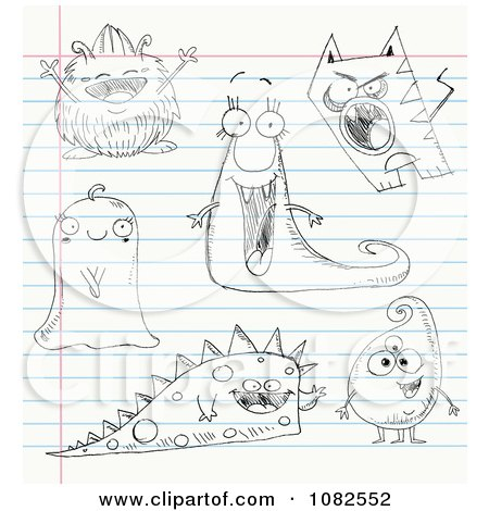 Clipart Sketched Monster Doodles On Ruled Paper - Royalty Free Vector Illustration by yayayoyo