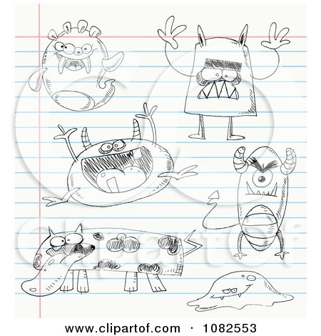 Clipart Sketched Monster Doodles On School Paper - Royalty Free Vector Illustration by yayayoyo