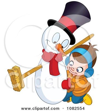 Clipart Cute Boy Making A Snowman - Royalty Free Vector Illustration by yayayoyo