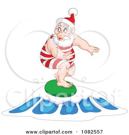 Clipart Santa Surfing On A Wave - Royalty Free Vector Illustration by yayayoyo
