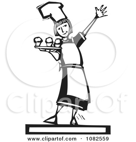 Clipart Black And White Woodcut Styled Baker Girl Serving Cupcakes - Royalty Free Vector Illustration by xunantunich