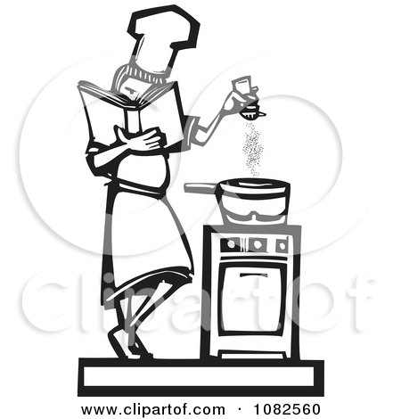 Clipart Black And White Woodcut Styled Baker Girl Seasoning Food - Royalty Free Vector Illustration by xunantunich