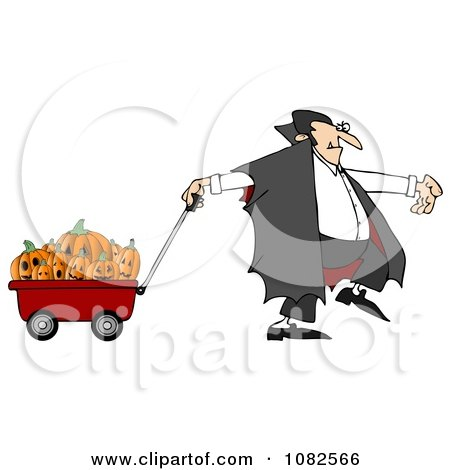 Clipart Vampire Pulling Halloween Pumpkins An A Wagon - Royalty Free Illustration by djart