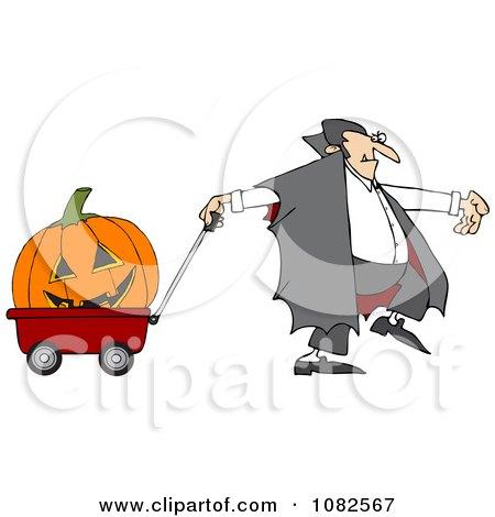 Clipart Vampire Pulling A Large Halloween Pumpkin An A Wagon - Royalty Free Vector Illustration by djart