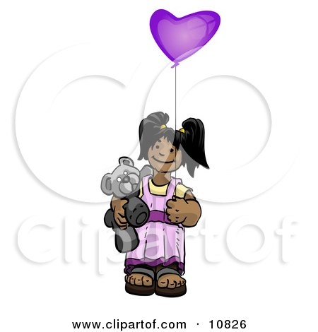 Cute Little Girl Holding a Purple Balloon and Teddy Bear Clipart Illustration by Leo Blanchette