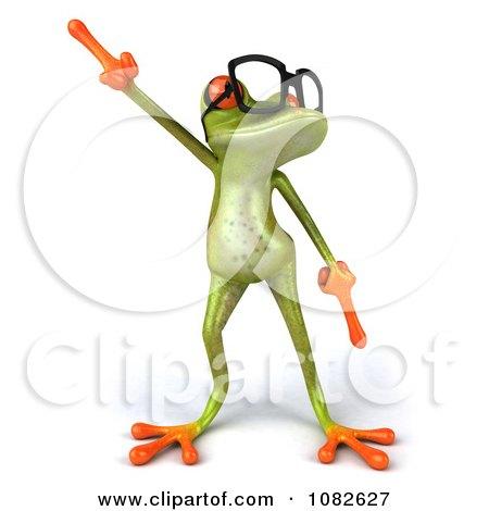 Clipart 3d Dancing Springer Frog Wearing Reading Glasses 1 - Royalty Free CGI Illustration by Julos