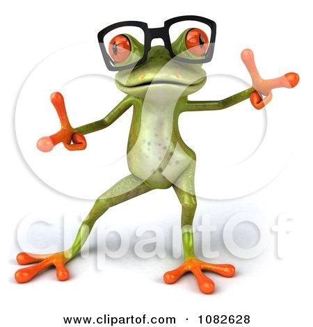 Clipart 3d Dancing Springer Frog Wearing Reading Glasses 2 - Royalty Free CGI Illustration by Julos